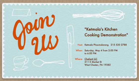 Invitation to Cooking Demo at Chefanti 5-4-13